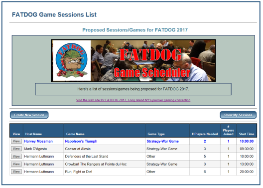 FatDOG Game Scheduler